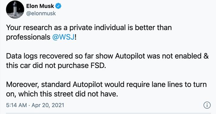 得州特斯拉车祸致2人丧生马斯克发推这辆车没买全自动驾驶