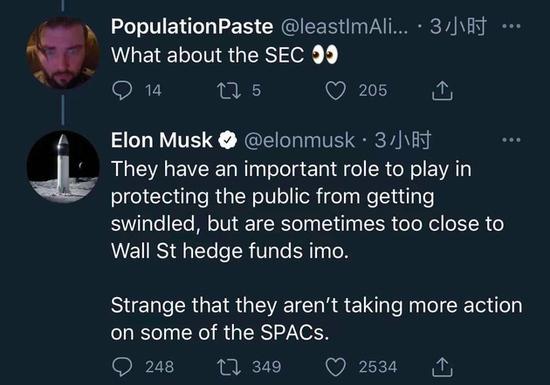 马斯克质疑SPAC上市模式SEC有时和华尔街对冲基金过于亲近