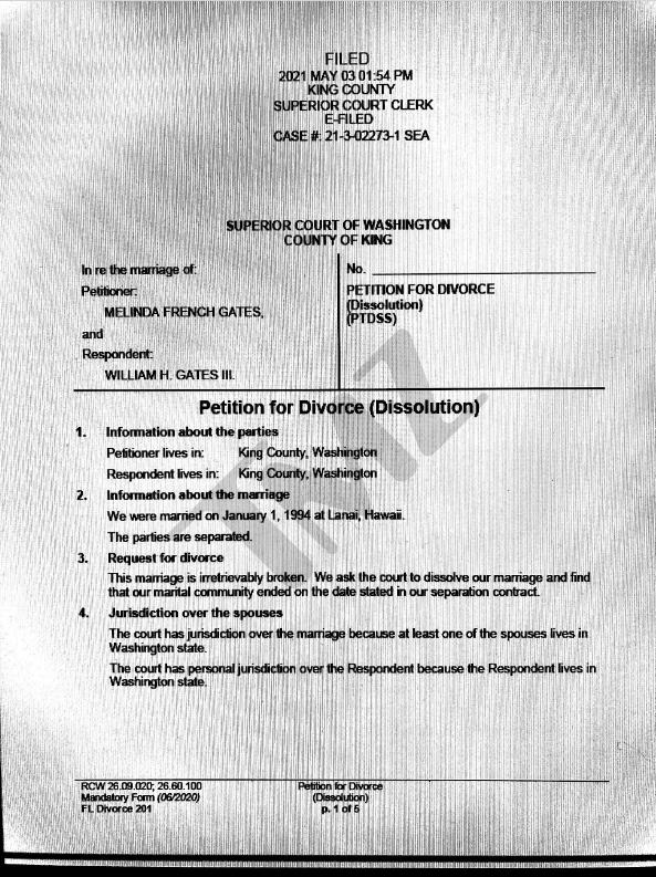 美媒曝盖茨离婚文件由梅琳达提起申请未来不要求配偶支持